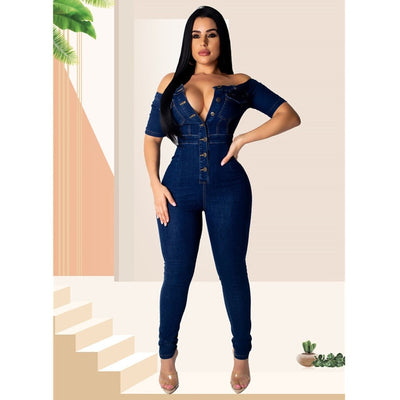 Off Shoulder Half Sleeve Cotton Bodycon Jeans Jumpsuit