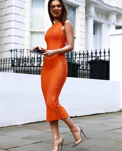 Summer Orange Side Weave Midi Dress - SimplyMorgans Boutique