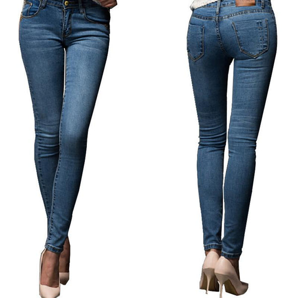 Jeans Stretch Skinny Pencil Pants - SimplyMorgans, - Clothing