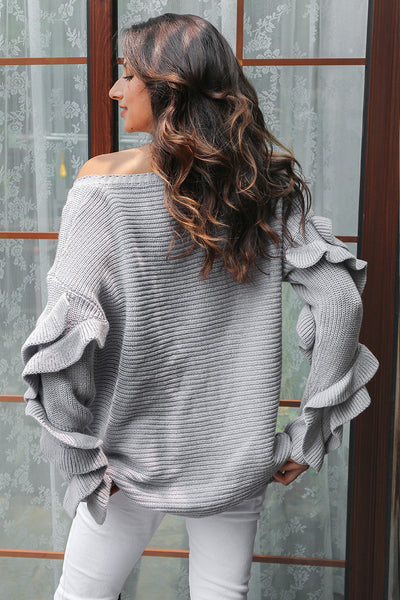 Ruffles flare sleeve knitted pullover - SimplyMorgans Boutique