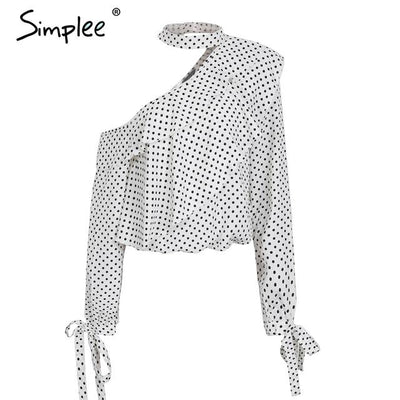 One shoulder polka dot blouse - SimplyMorgans Boutique