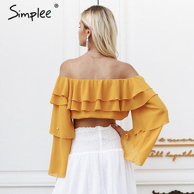 Off shoulder pearl sexy blouse - SimplyMorgans Boutique