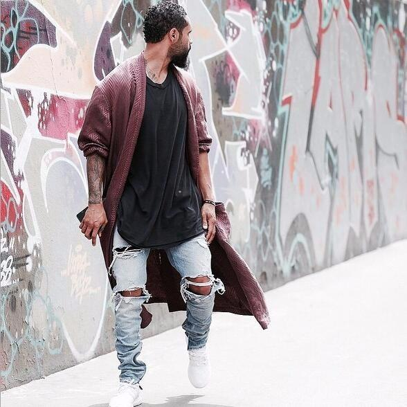 Kanye West Skinny Ripped Jeans For Men - SimplyMorgans, - Clothing