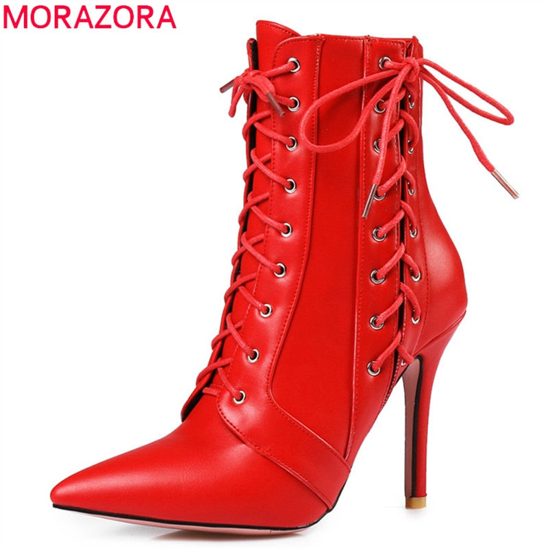 Lace up zipper pu leather ankle boots