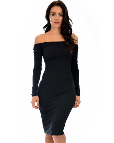 Bold Move Off The Shoulder Bodycon Midi Dress - SimplyMorgans Boutique