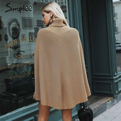 Knitted turtleneck cloak sweater - SimplyMorgans Boutique