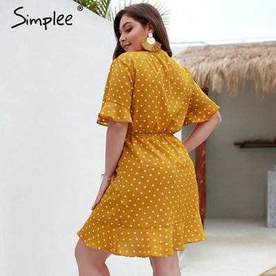 Simplee Sexy polka dots ruffle dress plus - SimplyMorgans Boutique