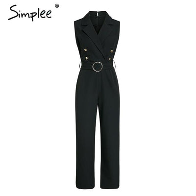 Simplee Elegant double breasted jumpsuit - SimplyMorgans Boutique