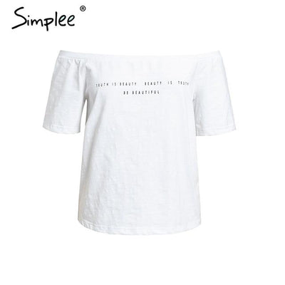 Simplee Sexy off shoulder letter t shirt 2019 - SimplyMorgans Boutique