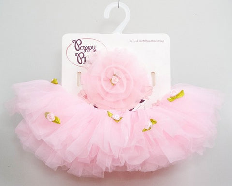 BABY ROSE TODDLER TUTU HEADBAND SET - Light Pink