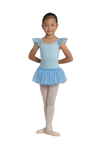 Danz N Motion Flutter Sleeve Dress Leotard with Glitter Skirt