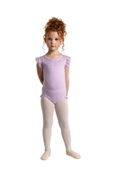 Scalloped Yoke Leotard Black, Child