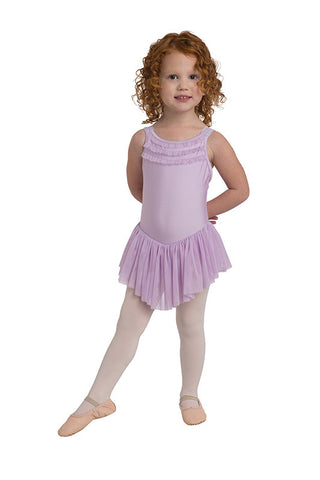 Danz N Motion Ruffle Trim Dress with Chiffon Skirt Leotard