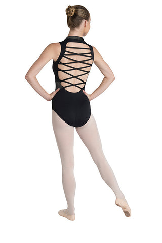 Danz N Motion Zip-Up Scuba Leotard with Criss-Cross