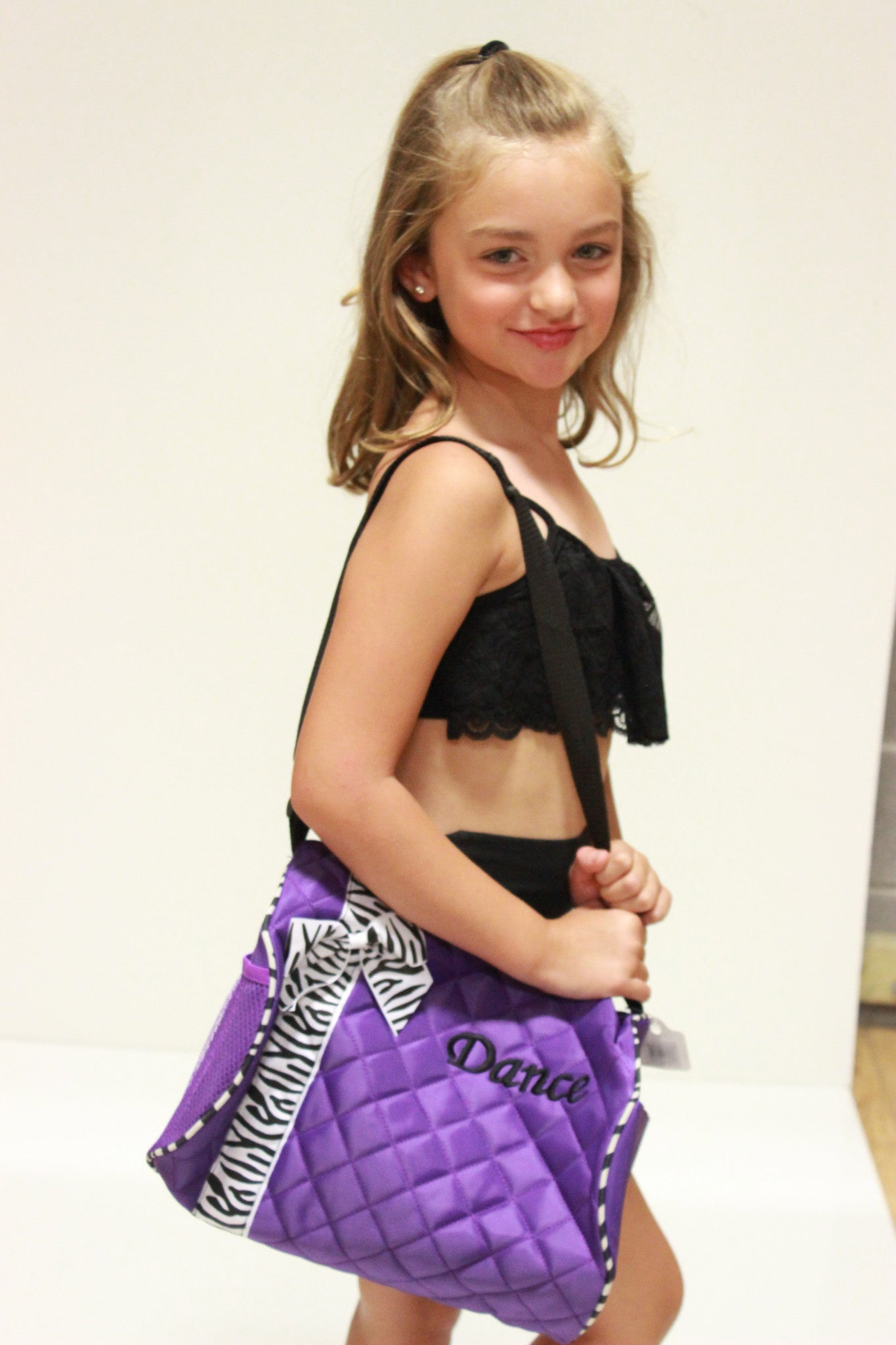 "Dance Bag with Zebra trim and Monogramed ""Dance"""