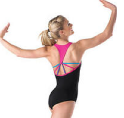 048ce8cc3de3d Balera Adult Black Leotard w/ Pink Trim – Bella Dance Couture