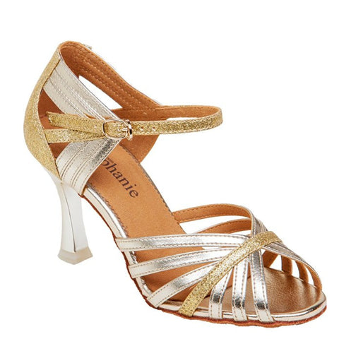 Stephanie Ballroom Gold Leather/ Glitter
