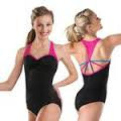 Balera Adult Black Leotard w/ Pink Trim