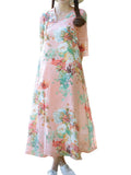 Vintage Women Half Sleeve Chinese Style Button Floral Printing Maxi Dress
