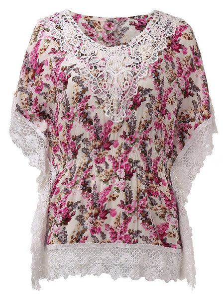 Women Short Sleeve Floral Printed Lace Crochet T-Shirt