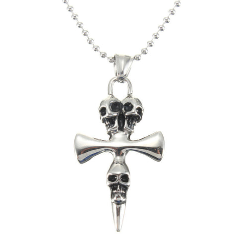 Silver Cross Skull Pendant Ball Chain Necklace
