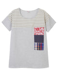Women Stripe Printed Patchwork Cotton Linen T-shirt