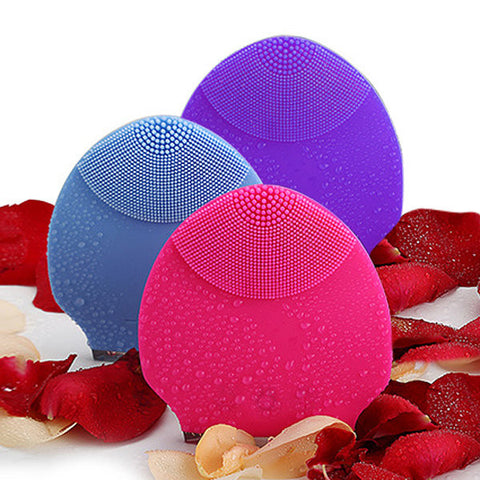 Electric Silicone Facial Cleaner Vibrating Massager Waterproof Rechargable Face Care