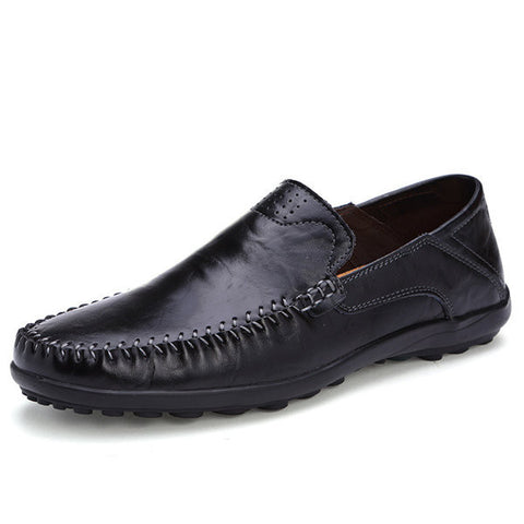 Big Size Men Drving Leather Slip On Pattern Flat Loafers