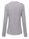 Casual Women Long Sleeve V Neck Striped Shirts