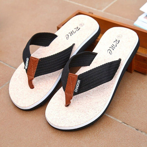 Men Color Match Clip Toe Flat Indoor Outdoor Beach Flip Flops Slippers