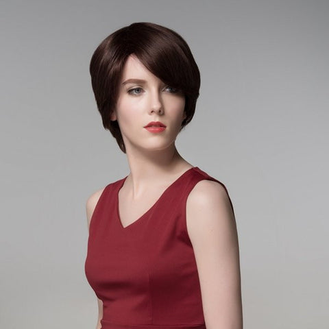 Charming Side Bang Short Straight Virgin Remy Mono Top Capless Human Hair Wig 12 Colors