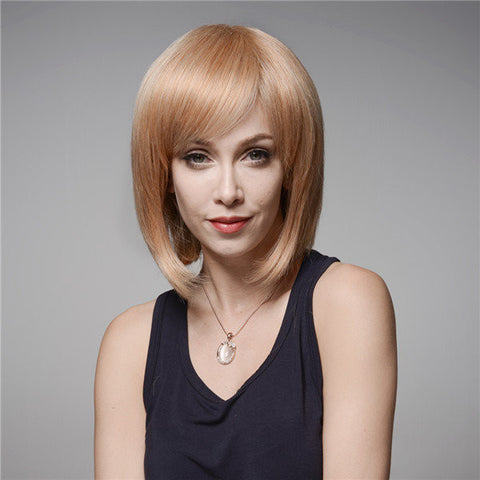 Elegant Human Hair Wig Side Bang Wave Virgin Remy Mono Top Capless 8 Colors