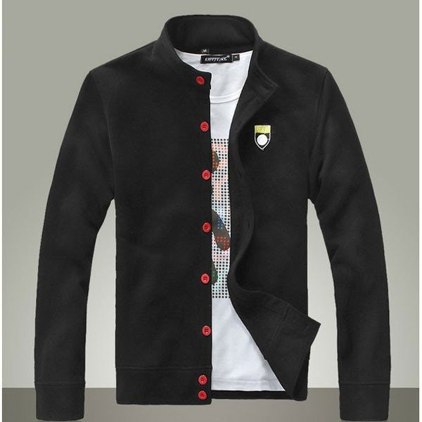 Men's Fashion Young Cotton Thickened Warm Contract Color Button Jacket