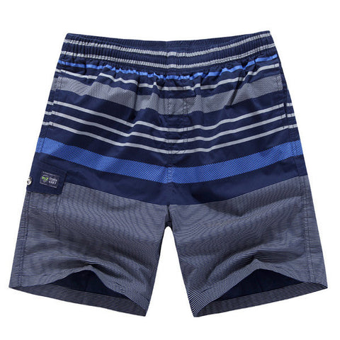 Cool Summer Mens Cotton Stripe Printing Knee Length Shorts Beach Shorts