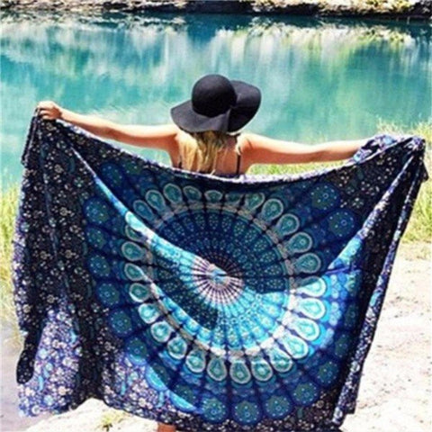 Beach Scarf Shawl Blue Spa Bath Tapestry Swimming Hanging Towel Yoga Mat Decor - shechoic.com