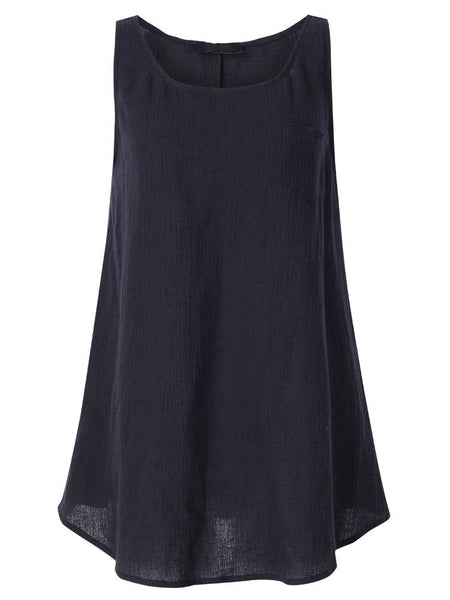 Women Solid Sleeveless Pocket Rayon Tank Top