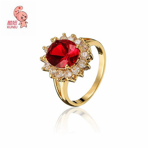 18k Gold Plated Red Zircon Crystal Ring