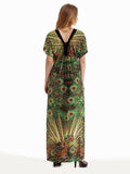 Bohemian Women Printed V-Neck Backless Beach Party Maxi Dress - shechoic.com