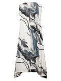 Vintage Floral Printed Sleeveless Loose Dress For Women