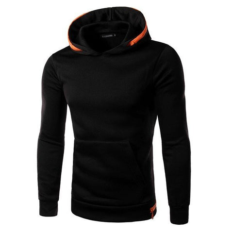 Men's Fashion Brief Contract Color Hoodie Cotton Casaul Sweatshirt