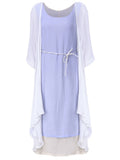 Vintage Women O-Neck Two-Piece Half-Sleeve Coat Dress Casual Loose Dress
