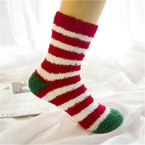 Cute Christmas Tree Deer Socks Cartoon Pattern Coral Fleece Thermal Ankle Sox