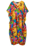 Bohemian Women Floral Drawstring Side Split Beach Maxi Dress Cover Up - shechoic.com