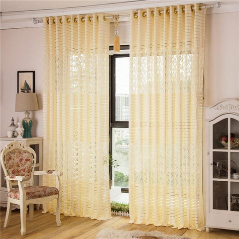 2 Panel Jacquard Lace Punching Sheer Tulle Curtains Hollow Out Window Screening