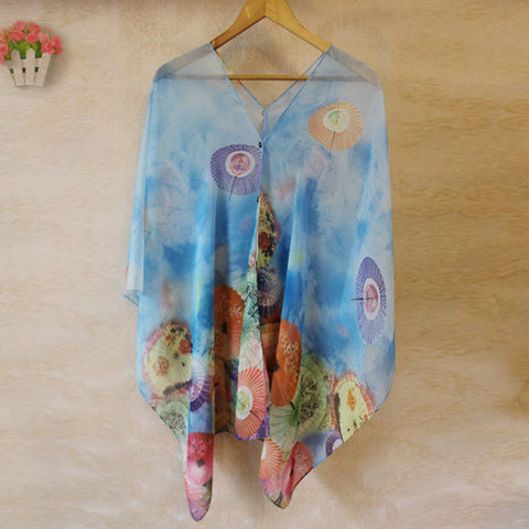 Button Chiffon Umbrella Printed Scarves Sunscreen Beach Towel Oversized Shawl