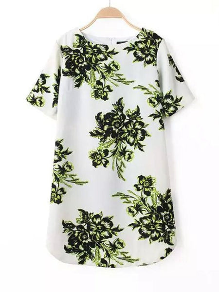 Casual Women Printed Short Sleeve Irregular Hem Mini Dress