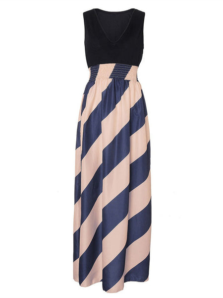 Women Sleeveless Deep V Neck Stripe Maxi Dress Evening Party Dress