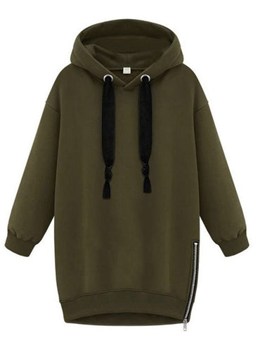 Sports Drawstring Hooded Side Zipper Long Sleeve Pure Color Pullover Casual Hoodies
