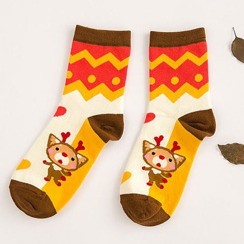 Korean Style Cute Christmas Cotton Socks Deer Soft Joker Cartoon Mid-calf Socks
