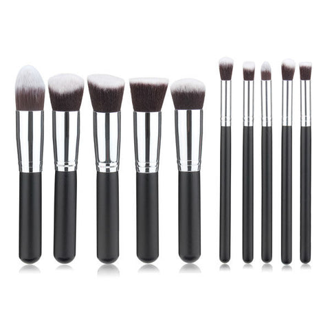 10Pcs Wool Fiber Makeup Brush Set Black Handle Blush Smoked Powder Brushes